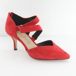 Sole Society Heels Red Suede Shoes Strappy